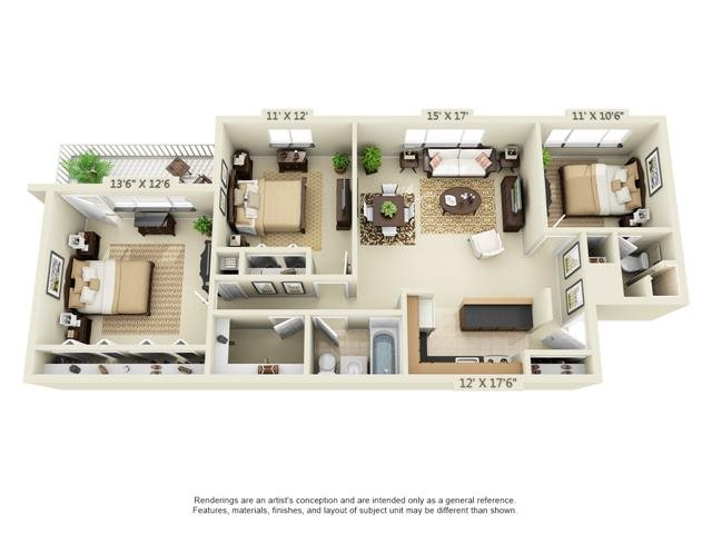 Floor Plans Of 1600 Elmwood Apartments In Rochester, NY