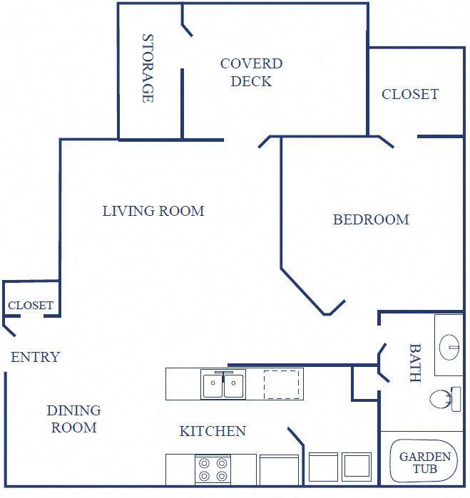 Floorplan of One Bedroom Apartment