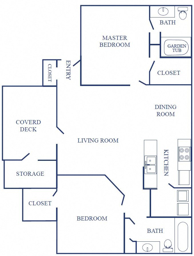 Two Bedrooms, Two Bathroom Small Floor Plan 2