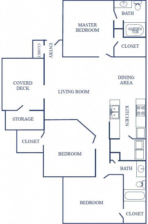 Floorplan of Three Bedroom Layout