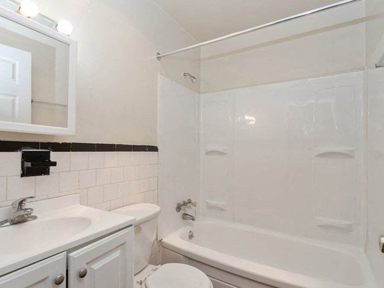 Updated bathroom in apartments for rent at Windsor Arms in Baltimore.