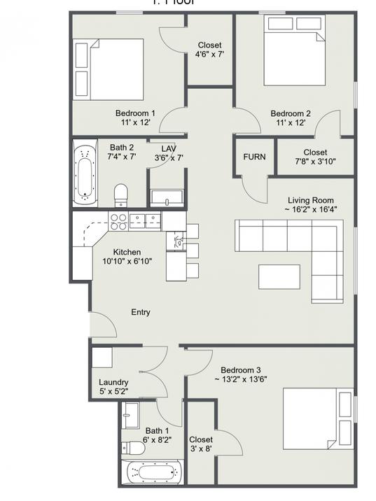 Three Bedroom Floor Plan 1