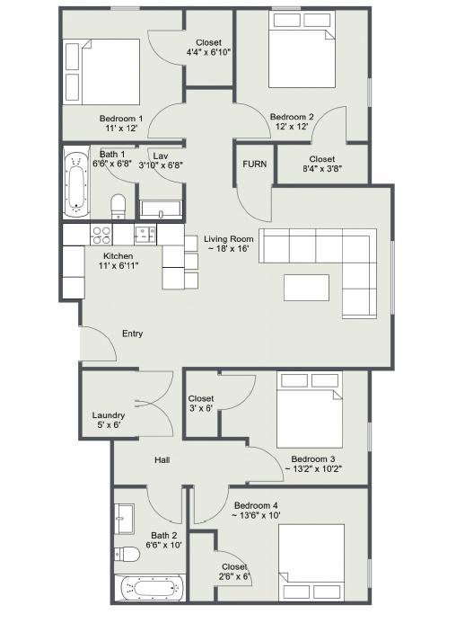 Four Bedroom Floor Plan 2