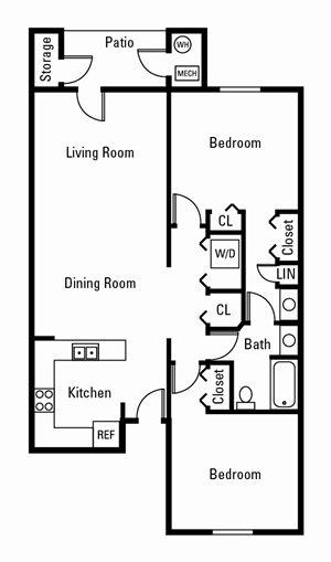 2 Bedroom, 1 Bath 1,044 sq. ft.