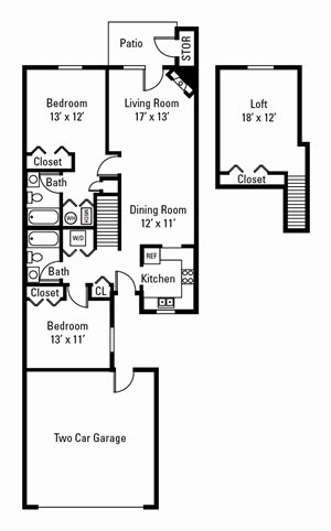 3 Bedroom, 2 Bath Townhome 1,255 sq. ft.