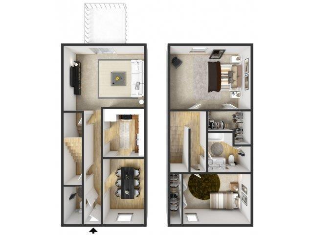 2 Bedroom Townhouse Floor Plan 3