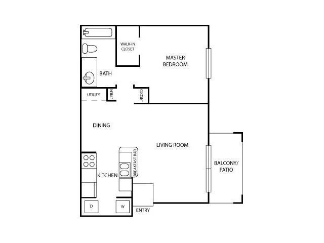 One Bed One Bath Floor Plan 1