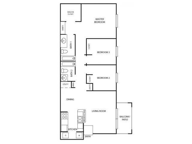 Three Bed Two Bath Floor Plan 3