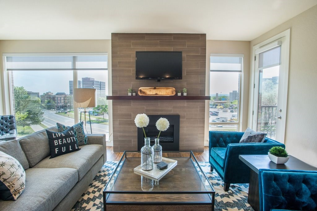 Fireplace at Union West Apartments in Lakewood, CO