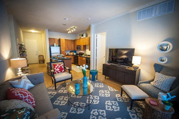 Contemporary Living Room Floor Plan at The Encore Apartments, Plano, TX 75024