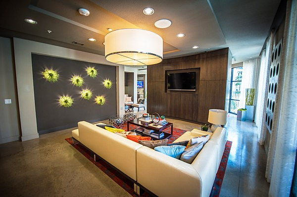 Resident Lounge With Modern Designer Fixtures at The Encore Apartments, Plano,Texas