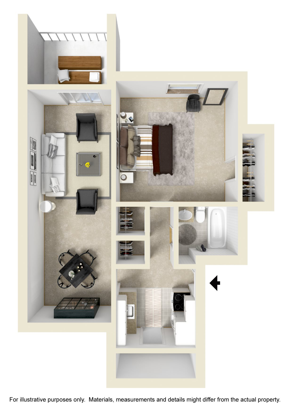 1 BR / 1 BATH 692 SF Floor Plan 2