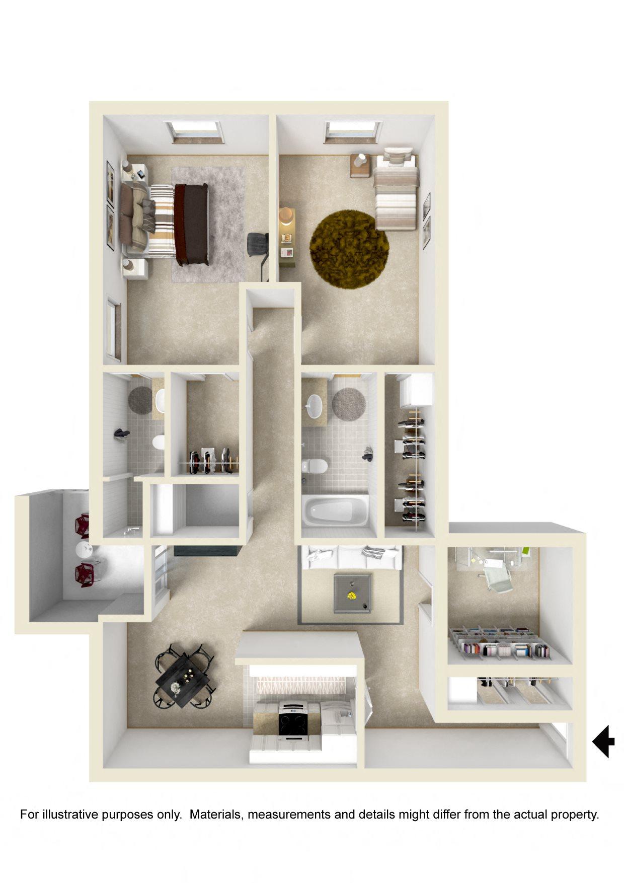 2 BR / 2 BATH Lake View No W/D Floor Plan 3