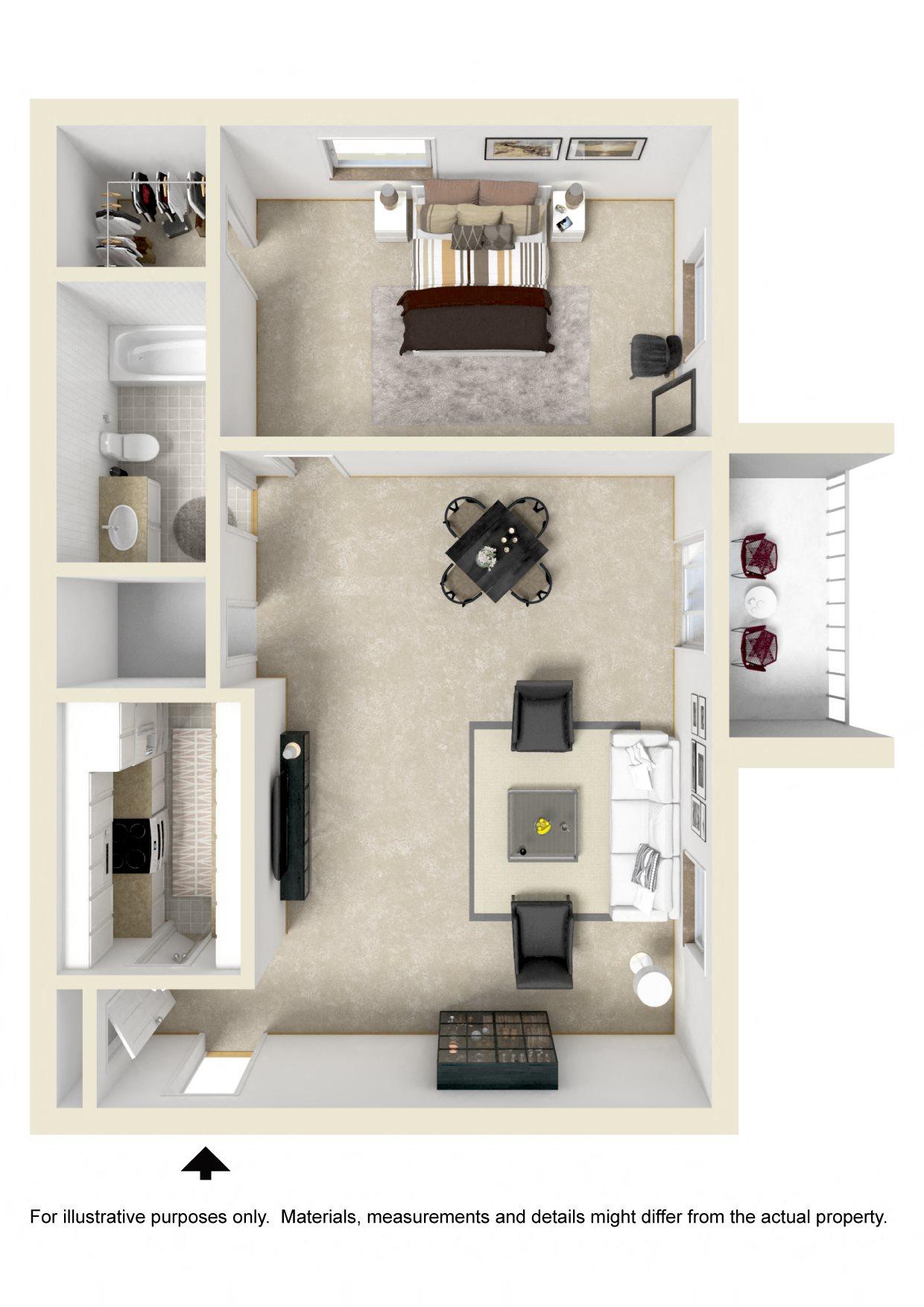 1 BR / 1 BATH 620 SF Floor Plan 1