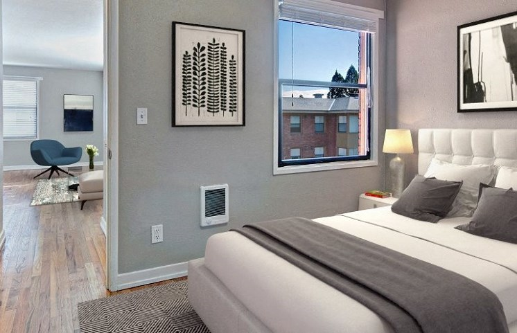 bedroom of apartment unit in seattle