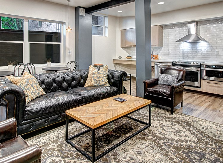 interior clubroom view of apartment building in seattle