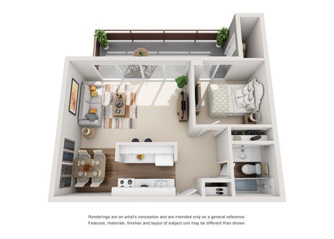 1 Bed 1 Bath Floor Plan at The Irvington, Portland, OR 97232