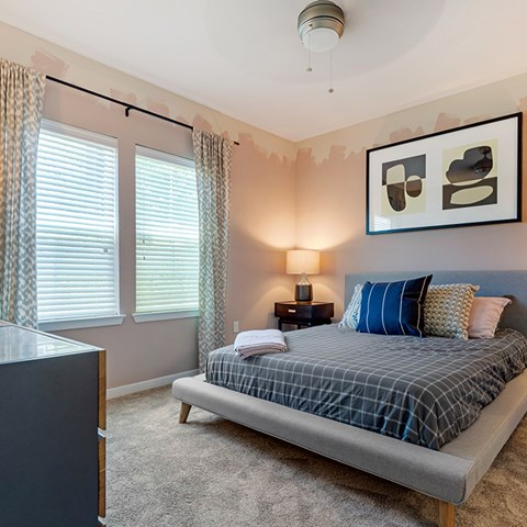 Bedroom With Expansive Windows at Jamison at Brier Creek, Raleigh, NC