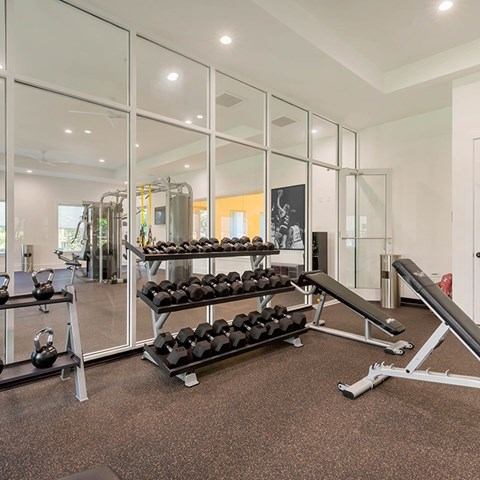24-Hour Fitness Center With Free Weights at Jamison at Brier Creek, North Carolina, 27617