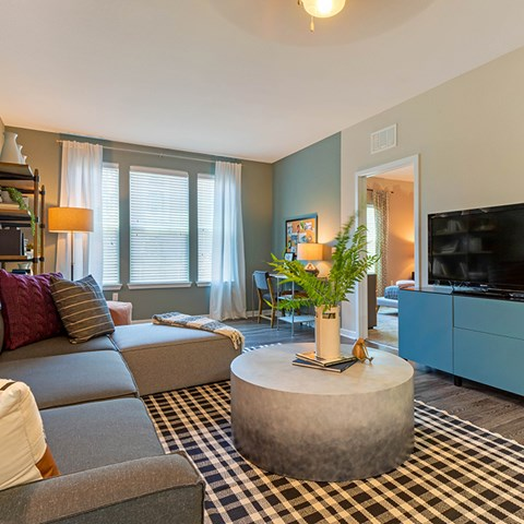 Decorated Living Room at Jamison at Brier Creek, Raleigh, NC