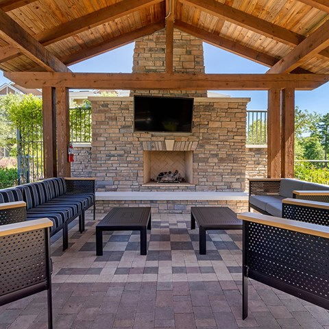 Outdoor Fireplace at Jamison at Brier Creek, Raleigh, 27617