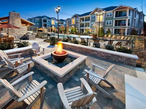 Outdoor Fireplace at Jamison at Brier Creek, North Carolina, 27617