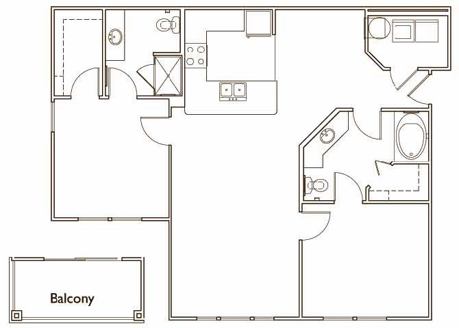 The Ash Two Bed Two Bath Floor Plan at Jamison at Brier Creek, Raleigh, 27617