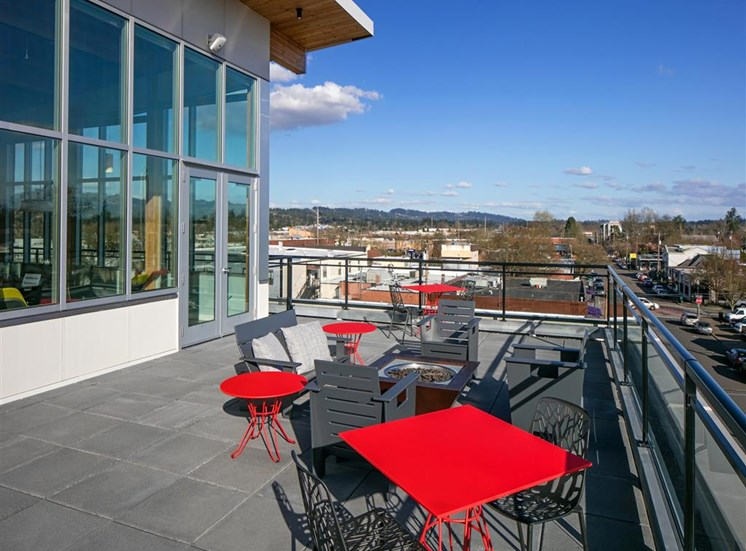 Rooftop Grill and Covered Seats at The Rise Old Town, Oregon