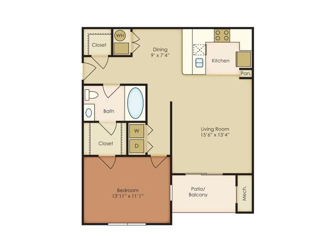 1 Bed 1 Bath Floor Plan at The Residence at North Penn, Oklahoma City,Oklahoma