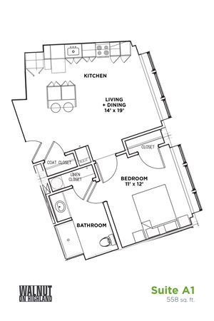 Floor Plan1 BR 1 Bath Suite B - ADA (Highland Building), Walnut on Highland in East Liberty Neighborhood of Pittsburgh