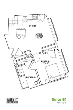 Floor Plan1 BR 1 Bath Suite B - ADA (Highland Building), Walnut on Highland in East End Pittsburgh, PA