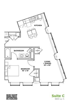 Floor Plan1 BR 1 Bath Suite C (Highland Building), Walnut on Highland in East Liberty Neighborhood of Pittsburgh