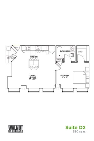 Floor Plan1 BR 1 Bath Suite D (Highland Building)	Bed/Bath, Walnut on Highland in East End Pittsburgh, PA