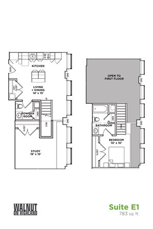 Floor Plan1.5 BR 1.5 Bath Suite E Loft (Highland Building), Walnut on Highland in East Liberty Neighborhood of Pittsburgh
