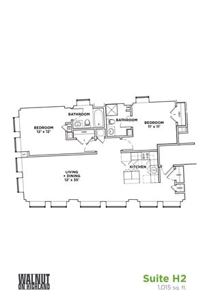 Floor Plan2 BR 1 Bath Suite H2 (Highland Building)	Bed/Bath, Walnut on Highland in East Liberty Neighborhood of Pittsburgh