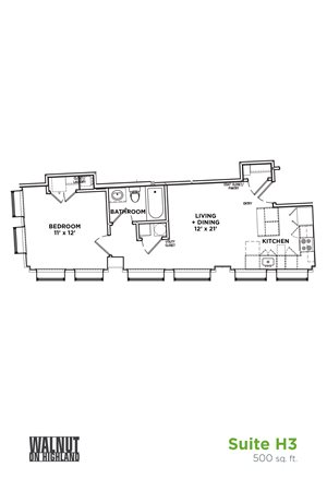 Floor Plan1 BR 1 Bath Suite H3 (Highland Building), Walnut on Highland in East End Pittsburgh, PA