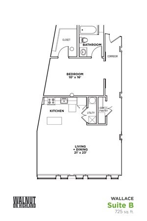 Floor Plan1 BR 1 Bath Suite B-W (Highland Building)	Bed/Bath, Walnut on Highland in East Liberty Neighborhood of Pittsburgh