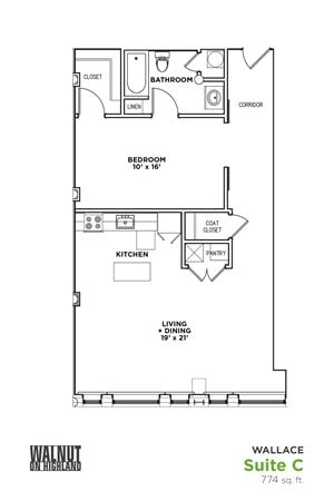Floor Plan1 BR 1 Bath Suite C-W (Highland Building), Walnut on Highland in East Liberty Neighborhood of Pittsburgh