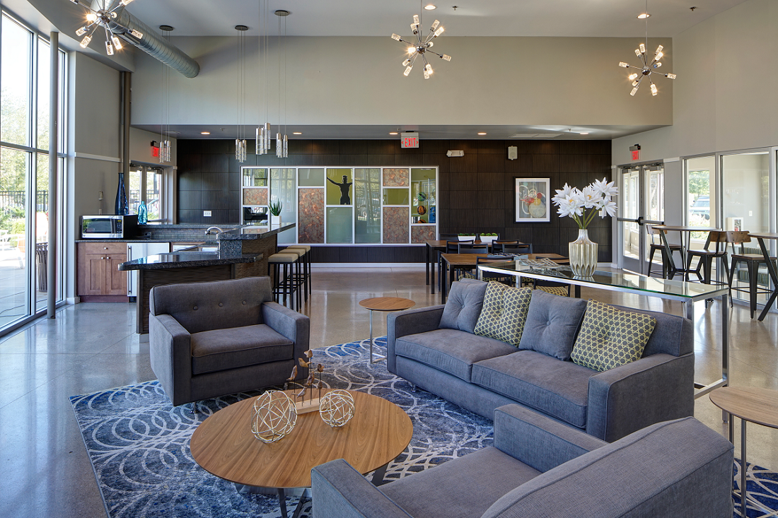Newly Renovated Clubhouse with Modern Lightning at Carol Stream Crossing, 535 Thornhill Drive, Carol Stream, Illinois