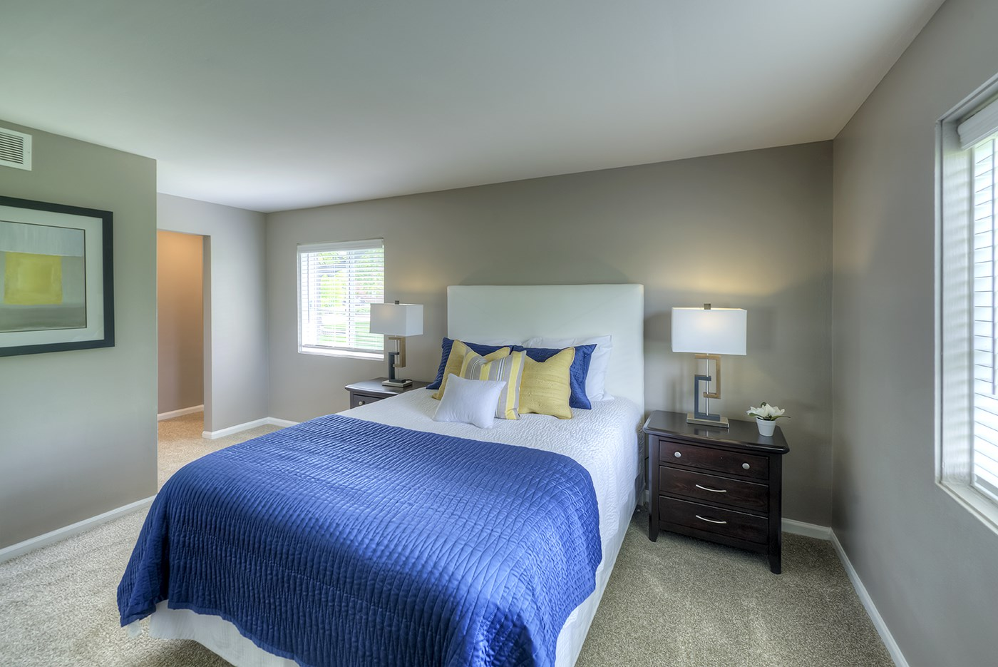 Spacious Bedroom With Comfortable Bed, at Carol Stream CrossILg, Carol Stream Illinois