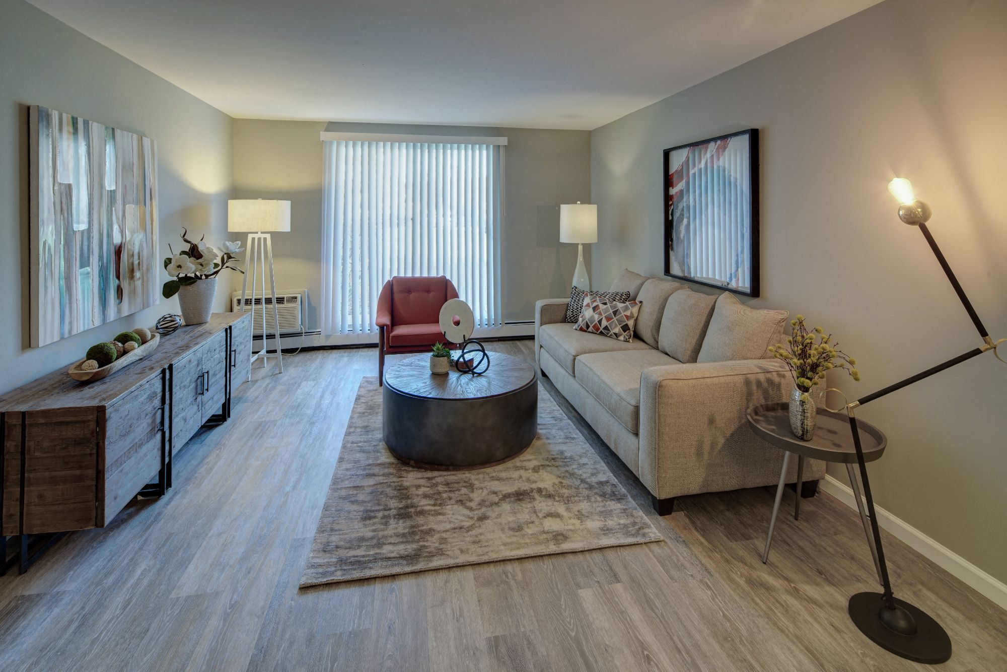 Wood Floor Living Room at Carol Stream Crossing, Carol Stream, 60188