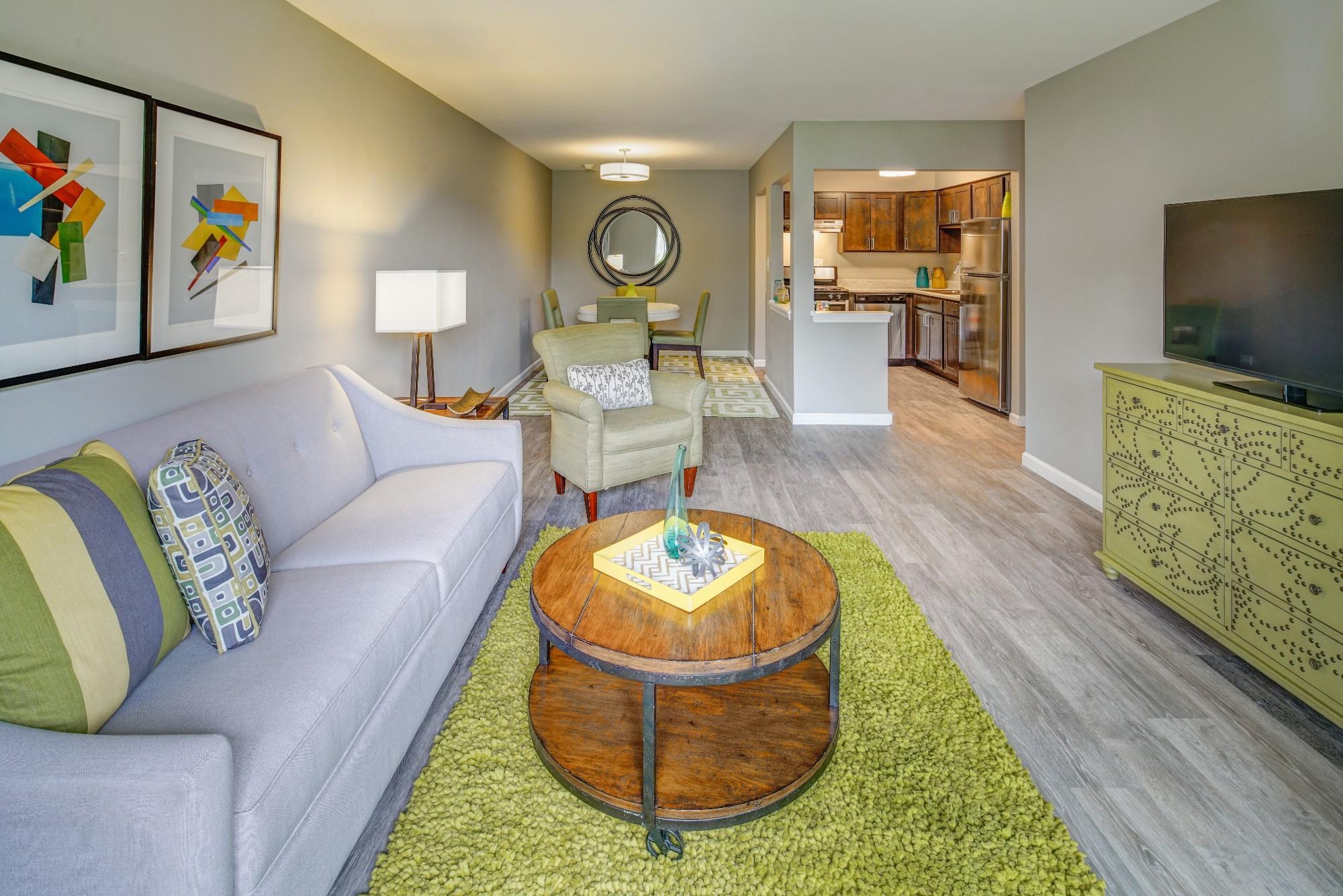 Trendy Living Room at Carol Stream Crossing, Illinois