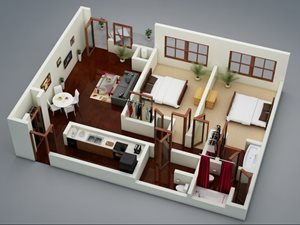 Capitol on 28th 3D Floor Plan - The Boathouse