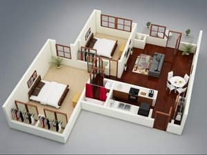 Capitol on 28th 3D Floor Plan - The Bricktown