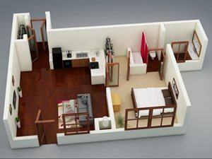 Capitol on 28th 3D Floor Plan - The Deep Deuce