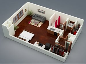 Capitol on 28th 3D Floor Plan - The Lincoln