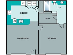 Pryor Creek Apartments 1 Bedroom Floor Plan