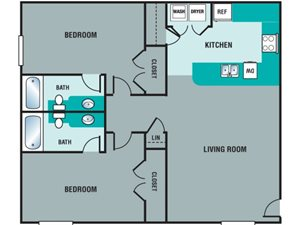 Pryor Creek Apartments 2 Bedroom Floor Plan