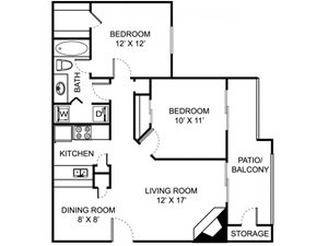 Remington Place Apartments 2 Bedroom 1 Bath 833 Square Feet