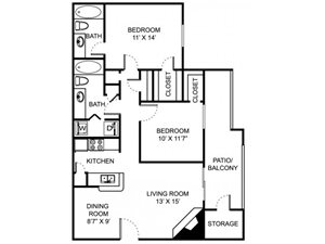 Remington Place Apartments 2 Bedroom 2 Bath 930 Square Feet